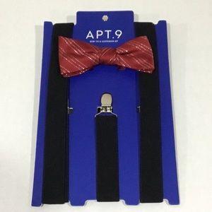 Apt. 9 Silver Burgundy Bow Tie & Black Suspenders